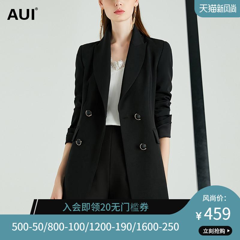 黑色职业气质复古港味小个子西服2020春季新款双排扣西装外套女潮