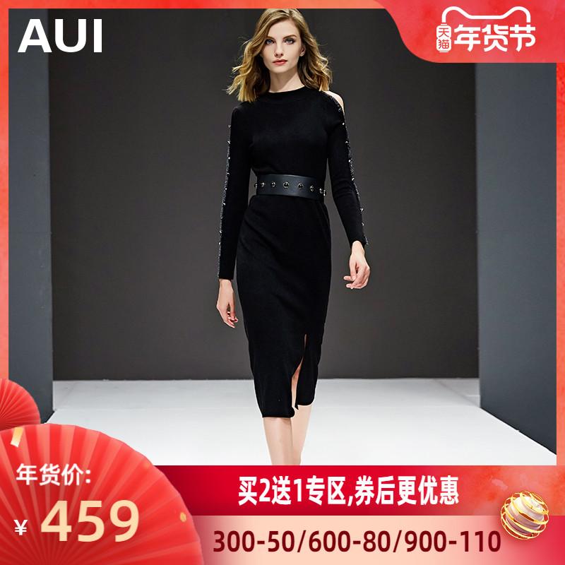 黑色针织连衣裙欧洲站女2020春装新款女装修身显瘦打底裙秋冬裙子