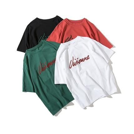 白色T恤女短袖体恤宽松显瘦韩版字母纯色圆领半袖上衣刺绣打底衫