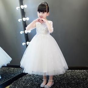 儿童礼服公主裙花童女童婚纱裙蓬蓬纱钢琴演出服主持人晚礼服白春
