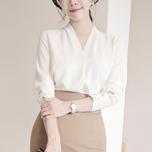雪纺衬衫女长袖2mo521春装ui夏季职业百搭宽松上衣V领白衬衣