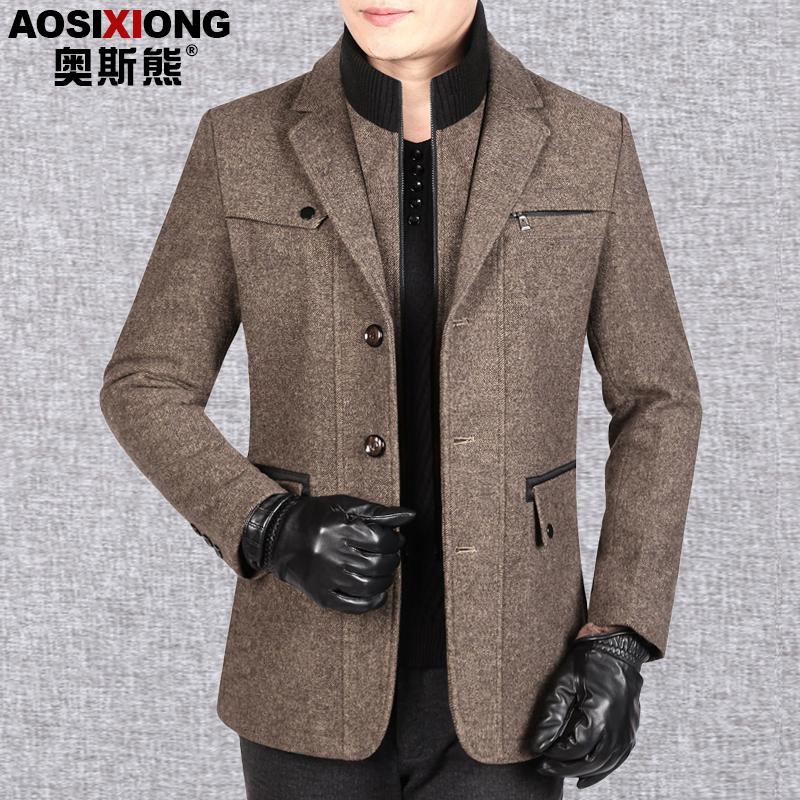 爸爸冬装外套男士羊毛呢夹克加厚秋冬季中年男装商务休闲尼子上衣