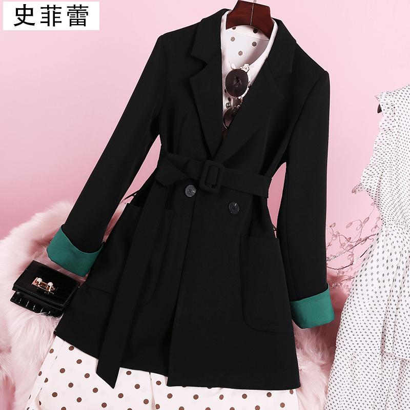 黑色西装外套女ins韩版2019网红设计感小众春秋季休闲西服英伦风
