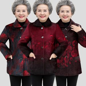 P103 Middle-aged and elderly women's autumn and winter clothing imitation mink fur coat grandma plus velvet thickening mother warm jacket