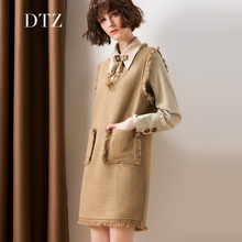 2121春秋新款女装蝴蝶结衬id11两件套am质粗花呢背心连衣裙