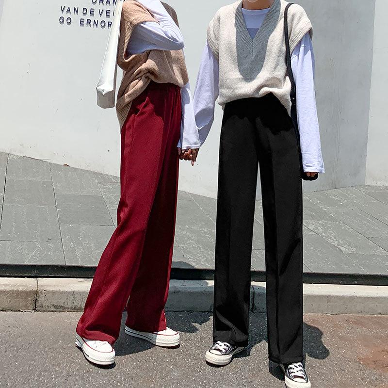 [¥54]西装阔腿裤女高腰垂感直筒宽松拖地九分百搭ins潮春秋长休闲裤子