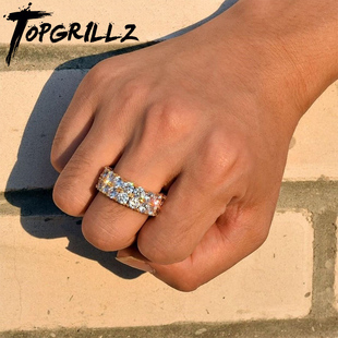 ice out ring 嘻哈戒指AAA高品质双排锆石戒指BlingBlingCZRing图片