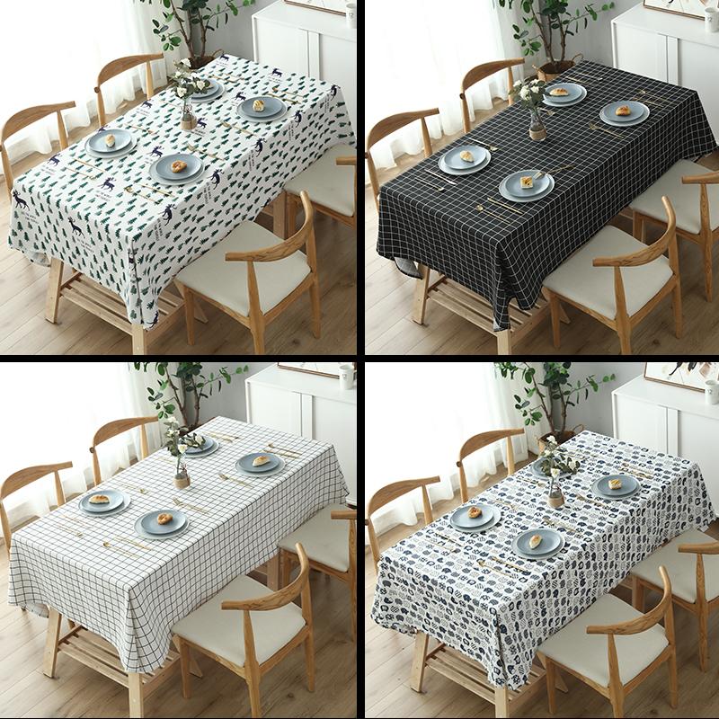 桌布网红棉麻布艺 学生书桌北欧ins电视柜台布长方形餐桌茶几桌垫