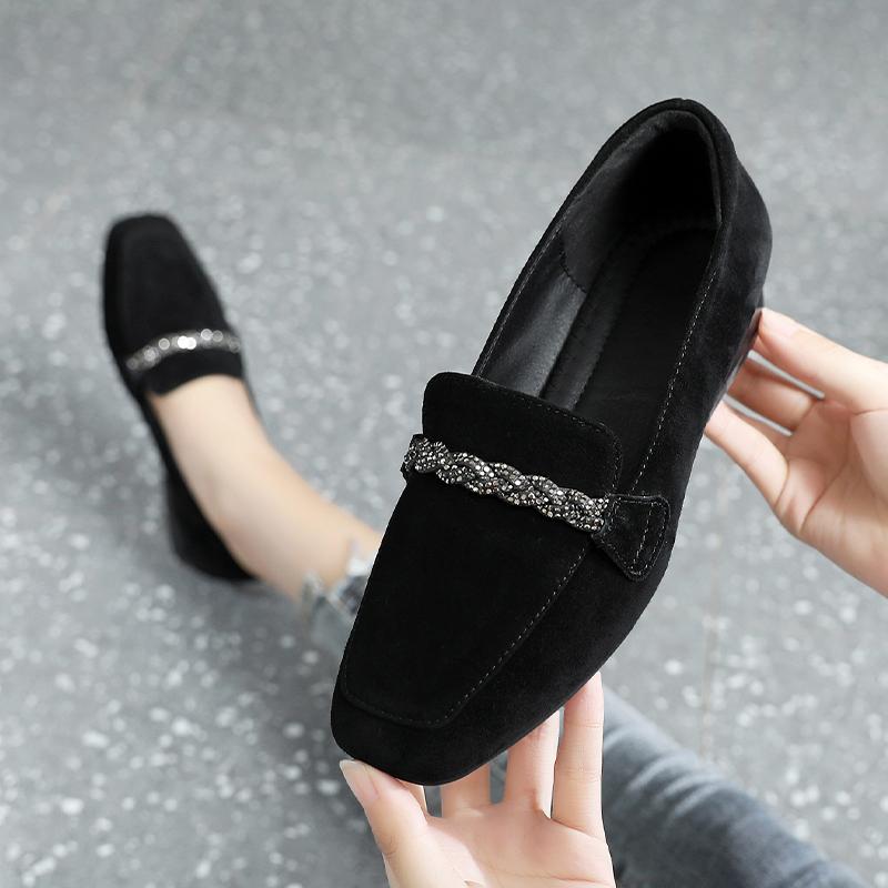 [¥148]磨砂英伦小皮鞋真皮单鞋女平底2020新款春季百搭大码女鞋毛毛鞋子