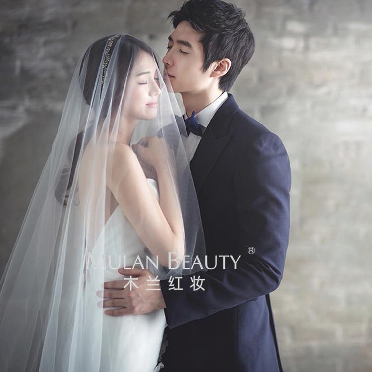 欧美简约裸纱新娘韩式结婚婚纱头纱超长素纱拖尾摄影旅拍凹造软纱