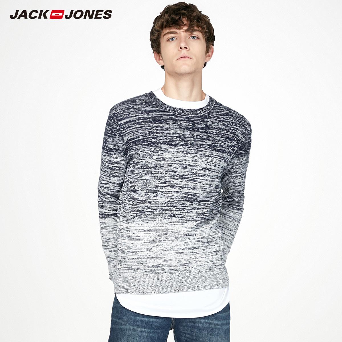 JackJones杰克琼斯秋冬新款男女装情侣潮套头纯棉线衣针织衫毛衣