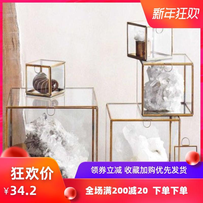 海外设计复古做旧玻璃收纳盒首饰盒婚庆装饰展示架防尘罩手办盲盒