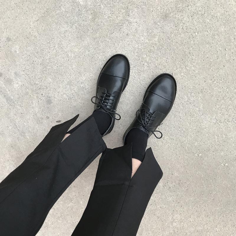 YH春秋英伦风女鞋平底复古学院风chic单鞋圆头系带黑色ins小皮鞋