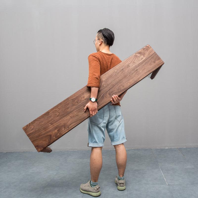 北欧黑胡桃木全实木长凳原木床尾凳餐凳樱桃木条凳日式简约家具