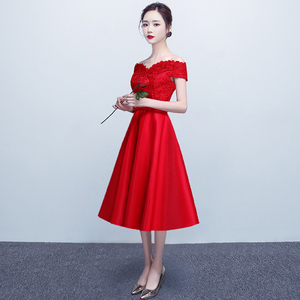Toast clothing bridal autumn 2017 wedding new word shoulder thin and elegant long presided over the banquet evening dres