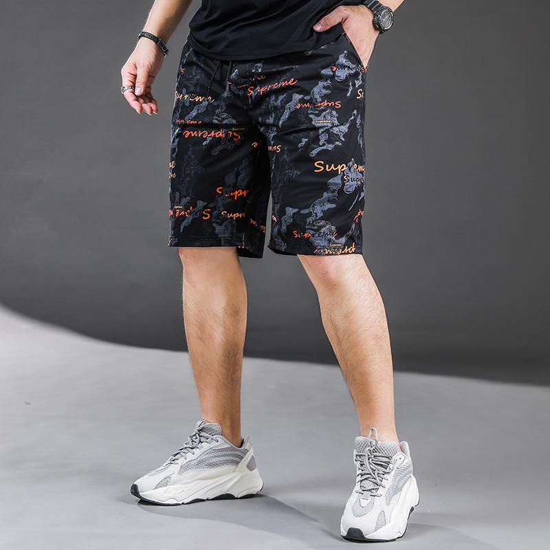 男士印花短裤加肥加大码潮牌胖子肥佬直筒沙滩裤透气薄款五分裤夏