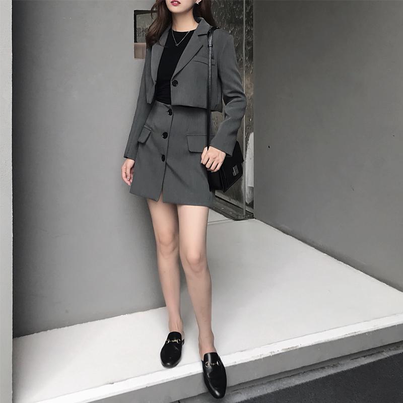 新款 气质 修身 短款 西装 西服 半身裙 短裙 两件 套装