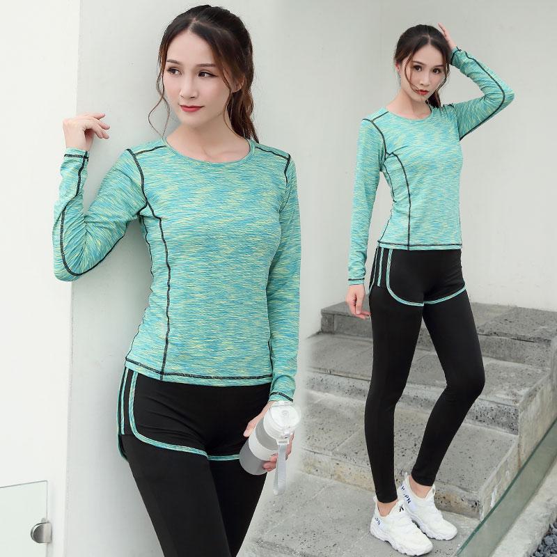 2017新款瑜伽服运动套装女秋冬季健身房专业跑步服宽松显瘦长袖