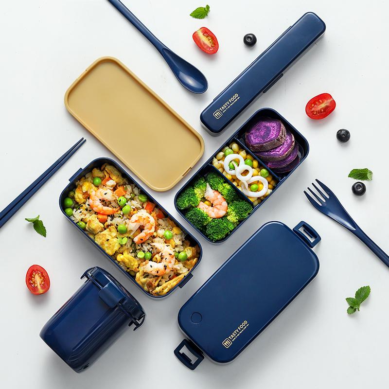 双层饭盒便当上班族日式减脂健身便携分隔型餐盒保温可微波炉加热