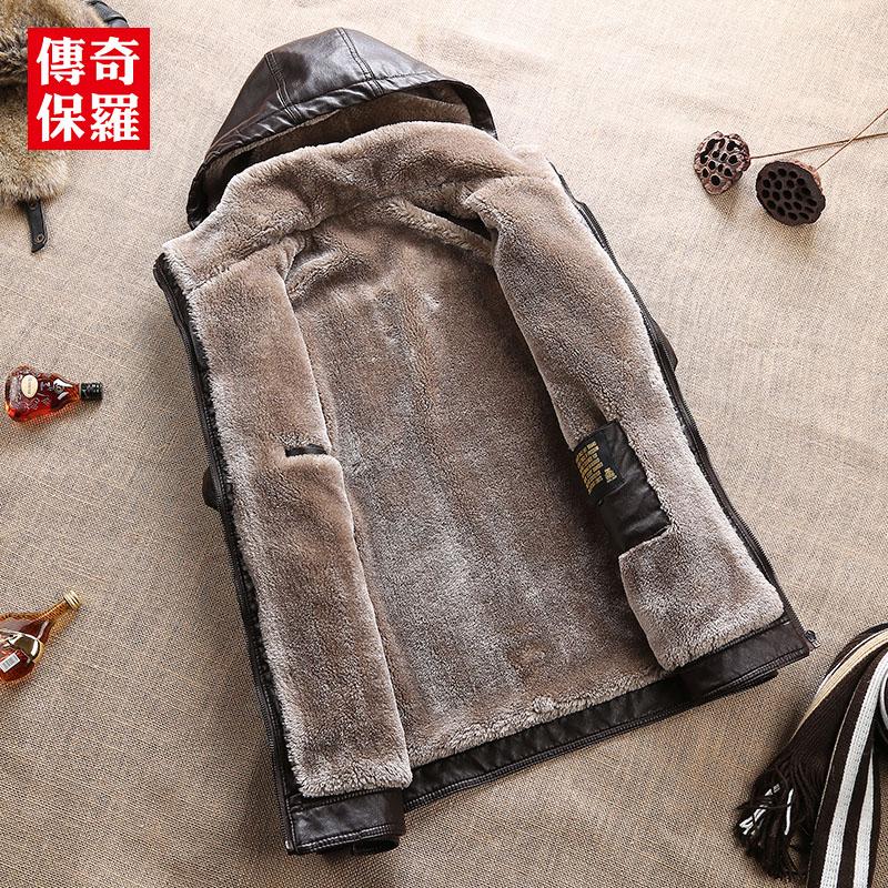 冬季加绒皮衣男士青年抓绒皮夹克加厚羊羔毛外套机车帅气PU皮保暖