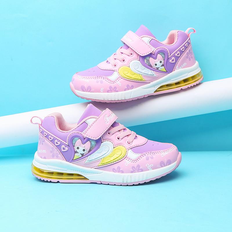 童鞋女童运动鞋加绒气垫鞋2017秋冬季新款儿童学生女孩韩版鞋子潮