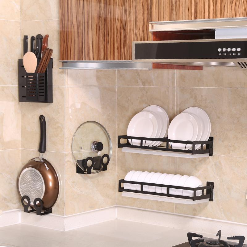 免打孔厨房置物架调料锅盖刀架砧板菜板碗碟收纳架壁挂式不锈钢