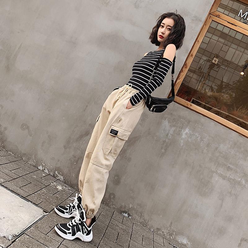 法式工装裤女秋季2019新款宽松bf帅气高腰显瘦ins束脚嘻哈裤子潮