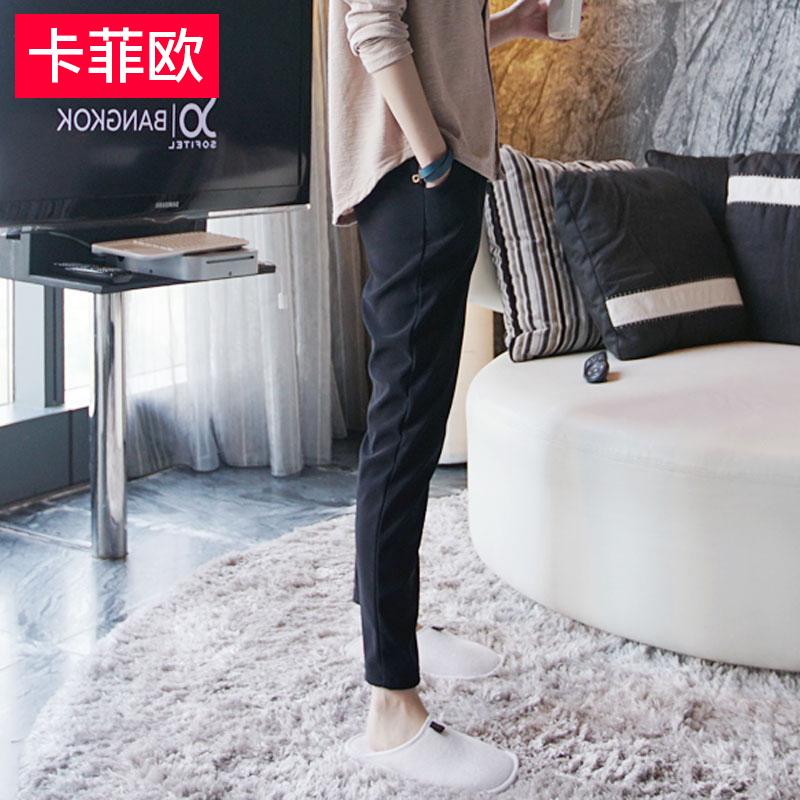 黑色裤子女秋2017新款九分裤韩版百搭直筒裤西装裤小脚西裤休闲裤