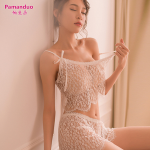 Parmando sexy pajamas women summer fun hot adult show short strap transparent hollow home service two-piece suit