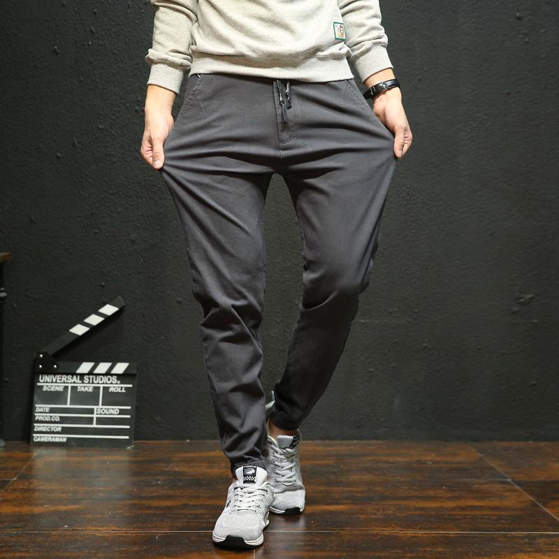 男生裤子男秋季男士休闲裤宽松小脚哈伦裤冬款加绒长裤工装束脚裤
