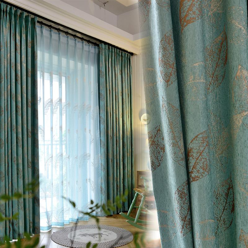 高档简约现代田园窗帘雪尼尔提花遮光隔音窗帘客厅卧室飘窗帘定制