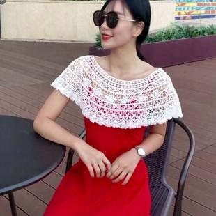 新款韩版蕾丝小披肩连衣裙百搭镂空罩衫女秋季小坎肩无袖衫小外套图片