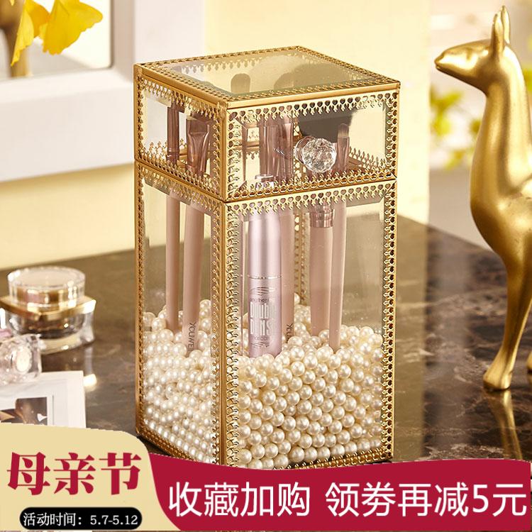 复古 玻璃 化妆 透明 化妆品 收纳盒 防尘 眉笔 桌面 收纳