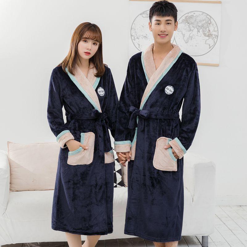 加厚男女法兰绒睡衣秋冬季珊瑚绒情侣睡袍浴袍长袖加大家居服浴衣