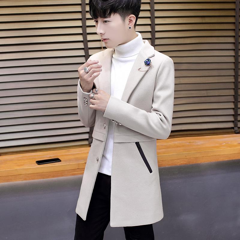 2017新款冬装休闲呢子大衣男士韩版中长款外套男学生帅气潮流风衣
