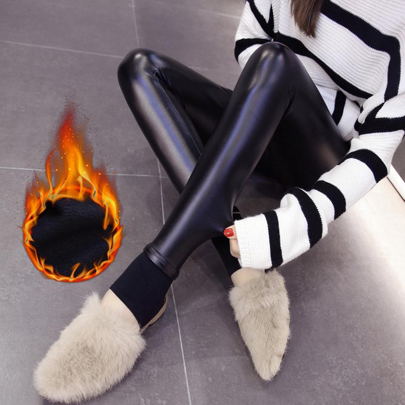 皮裤女秋冬新款高腰打底裤外穿修身加绒PU踩脚皮裤加厚显瘦小脚裤