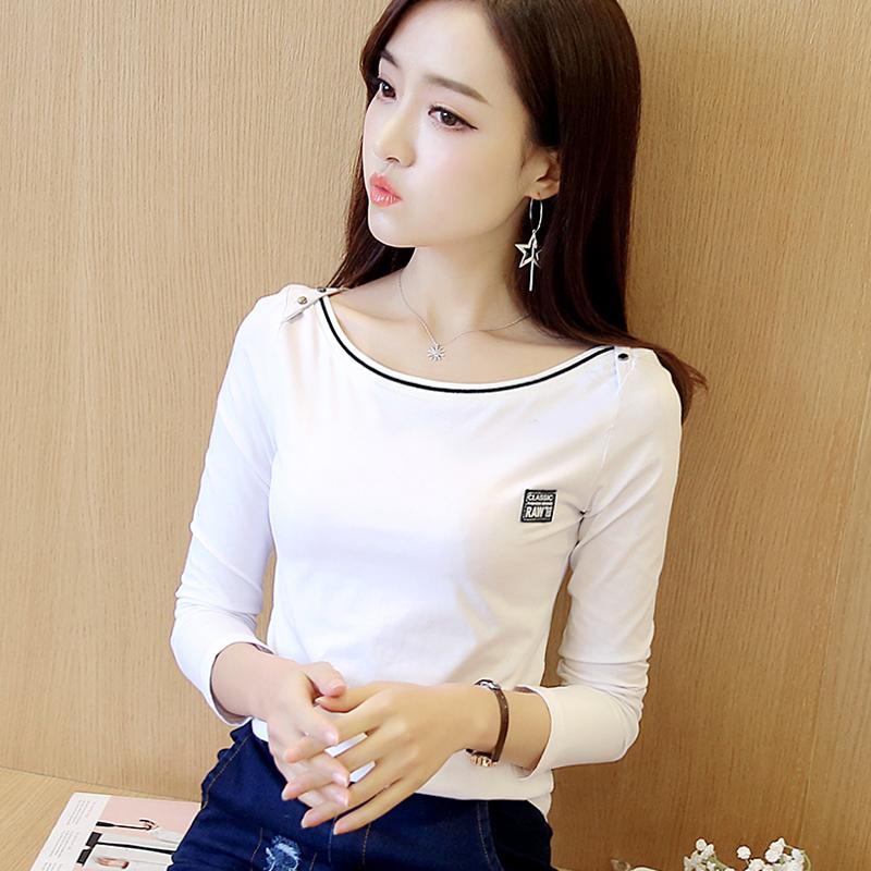白色一字领肩T恤女装长袖2020秋季新款 韩版纯棉修身打底衫上衣潮