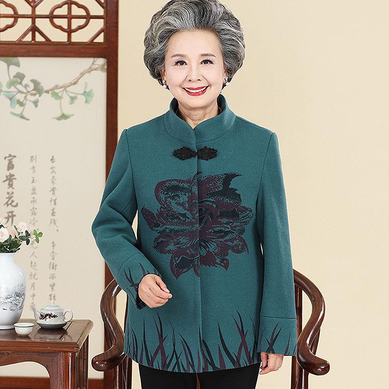 中年妈妈装秋装新款上衣中老年女装春秋时尚毛呢外套