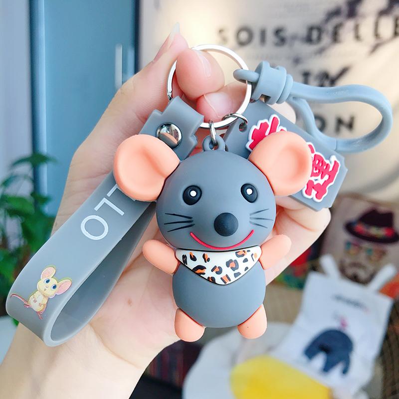 2020鼠年卡通创意滴胶小老鼠可爱钥匙扣挂件钥匙链情侣网红包挂件