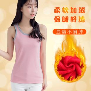 女士保暖背心加绒加厚修身上衣打底衫无袖韩版秋冬季性感内搭显瘦图片