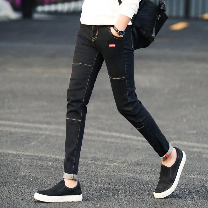 牛仔裤潮流青年九分裤个性修身小脚裤男士时尚吊脚裤年轻人铅笔裤