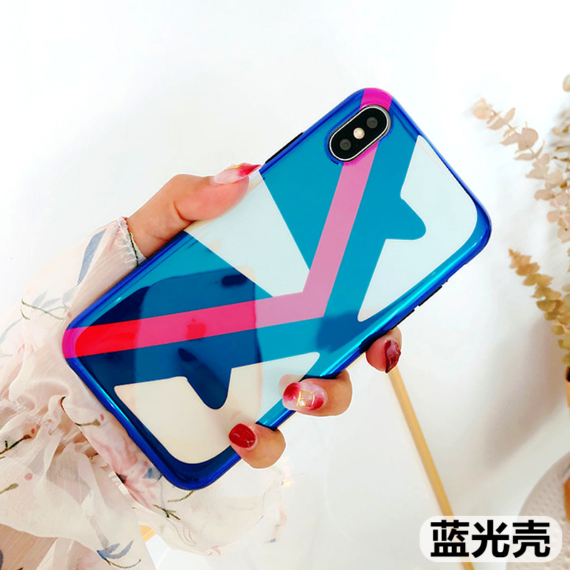 iPhoneX手机壳蓝光女苹果7/8plus网红潮牌超薄i6防摔祖母绿情侣款