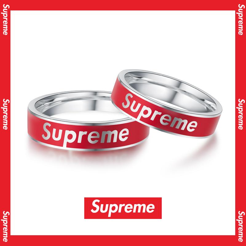 vana/LOVE Supreme纯银情侣一对戒指男女简约ins潮单身戒时尚个性