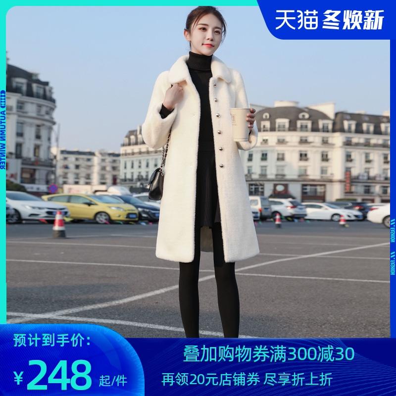 黄金貂绒大衣女中长款2020冬季新款呢子加厚保暖仿水貂绒毛呢外套