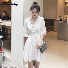2020年新式流行连衣裙女ss10红夏装lr雪纺修身白色百搭裙子