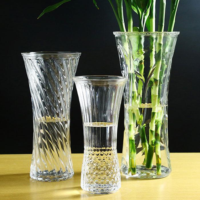 简约花瓶玻璃透明摆件客厅插花花器特大号家用水培富贵竹百合花瓶