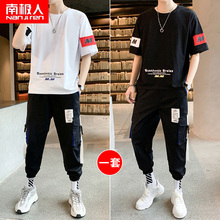 Youth summer suit men's Korean Trend handsome short sleeve T-shirt clothes junior high school boys' summer clothes