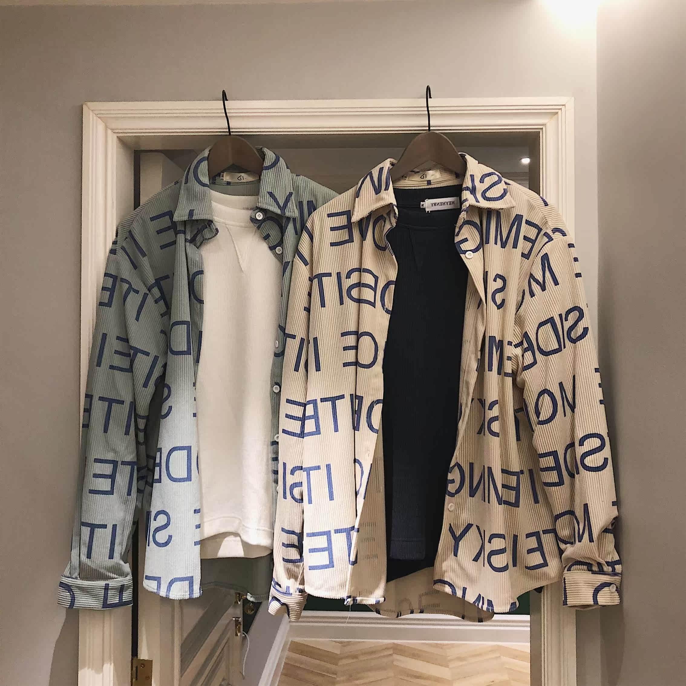 秋冬韩版宽松灯芯绒长袖衬衫男很仙的ins潮流字母百搭风男士外套