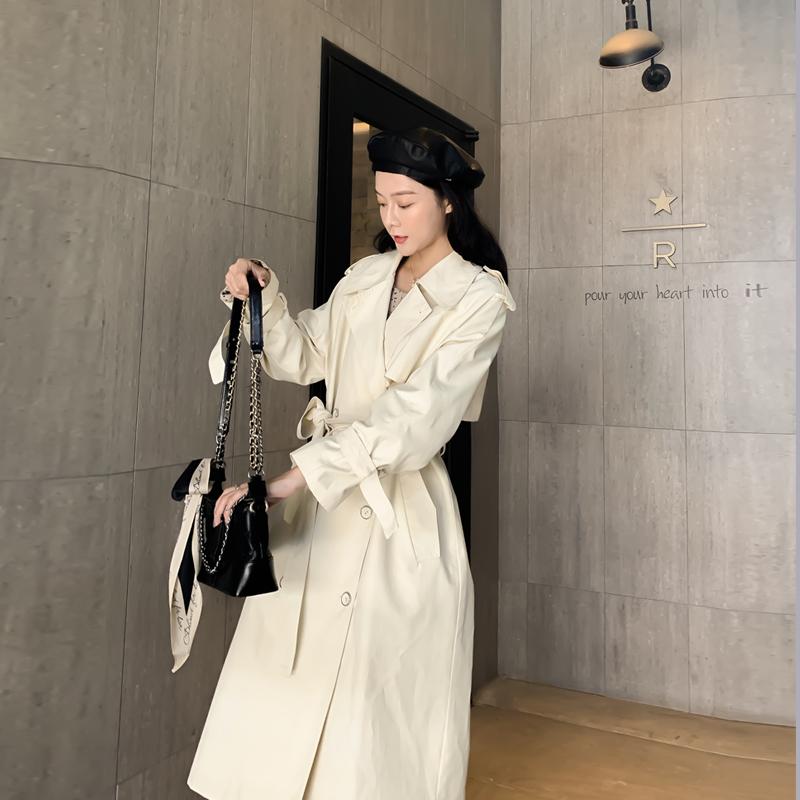风衣女2021新款春秋季英伦风大衣韩版宽松小个子显高中长款外套