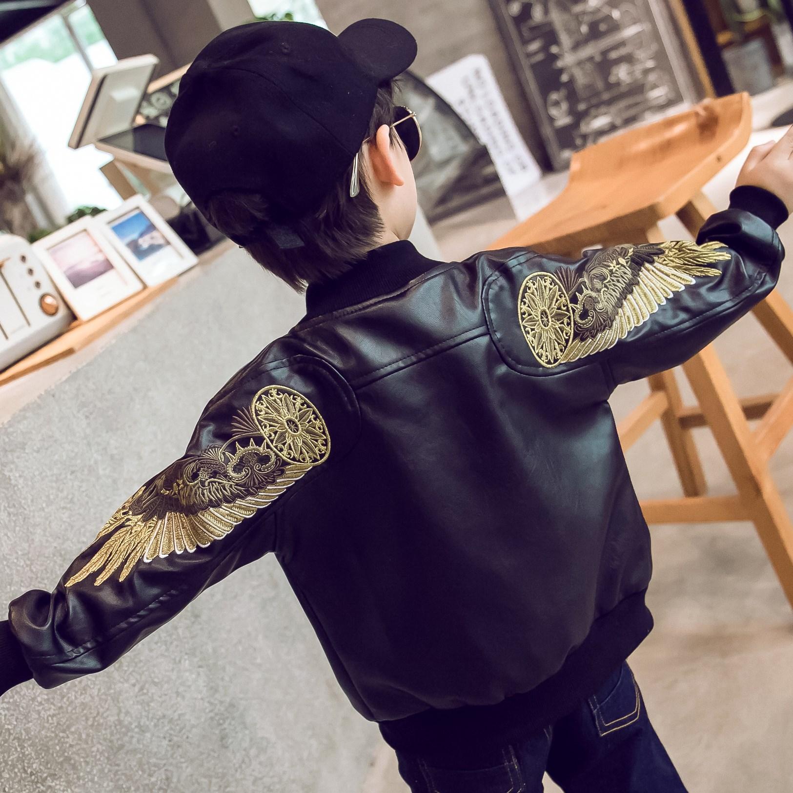 男童外套男孩上衣中大儿童装秋装2019春秋季新款小孩加绒皮衣夹克